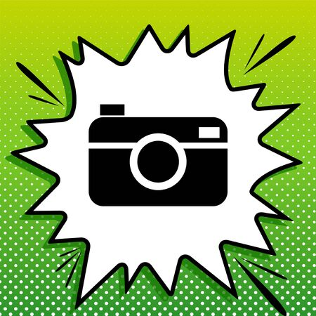 Digital photo camera sign. Black Icon on white popart Splash at green background with white spots. 일러스트