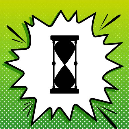 Hourglass sign illustration. Black Icon on white popart Splash at green background with white spots.