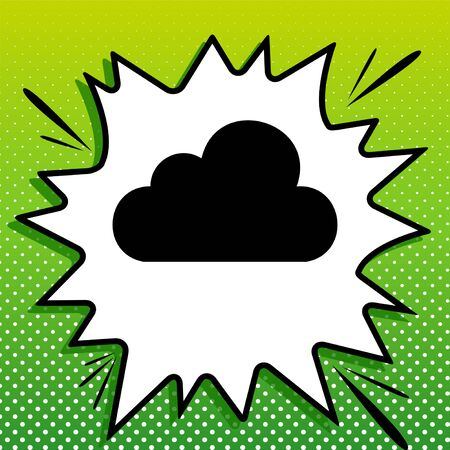 Cloud sign illustration. Black Icon on white popart Splash at green background with white spots.
