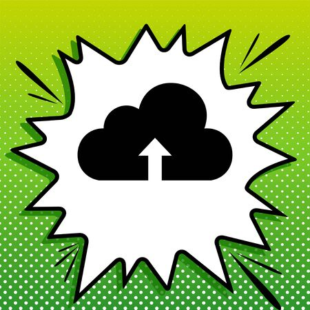 Cloud technology sign. Black Icon on white popart Splash at green background with white spots.