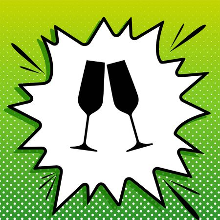 Sparkling champagne glasses. Black Icon on white popart Splash at green background with white spots.