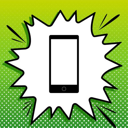 Modern gadget with blank screen. Black Icon on white popart Splash at green background with white spots. Ilustrace