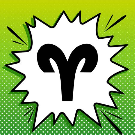 Aries sign illustration. Black Icon on white popart Splash at green background with white spots.