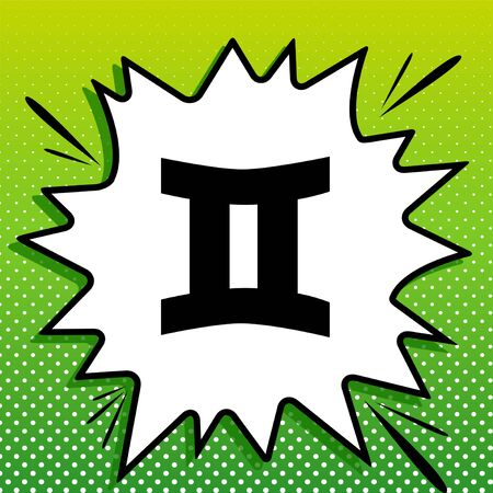 Gemini sign. Black Icon on white popart Splash at green background with white spots. 일러스트