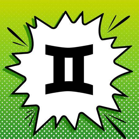 Gemini sign. Black Icon on white popart Splash at green background with white spots. Illustration