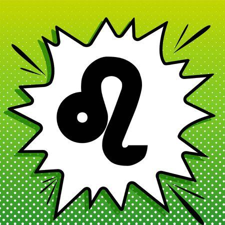 Leo sign illustration. Black Icon on white popart Splash at green background with white spots.