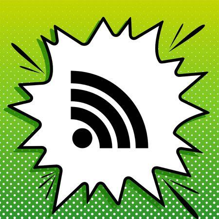 RSS sign illustration. Black Icon on white popart Splash at green background with white spots. Illustration.