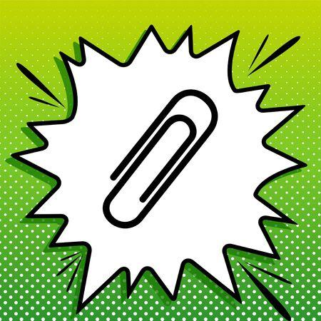 Clip sign illustration. Black Icon on white popart Splash at green background with white spots. Illustration.