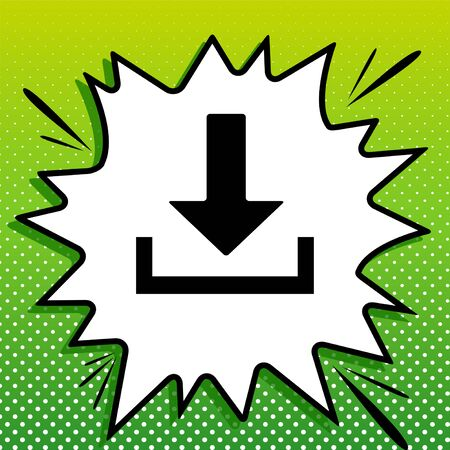 Download sign illustration. Black Icon on white popart Splash at green background with white spots.