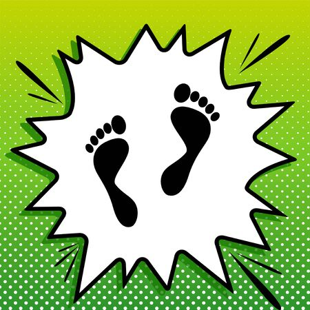 Foot prints sign. Black Icon on white popart Splash at green background with white spots.