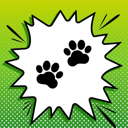 Animal Tracks sign. Black Icon on white popart Splash at green background with white spots. Stock Vector - 143310083