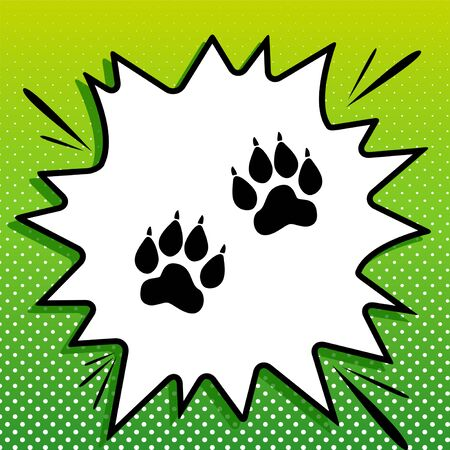Animal Tracks sign. Black Icon on white popart Splash at green background with white spots. Illustration