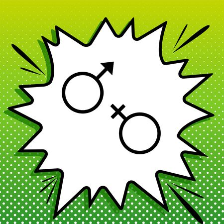 Sex symbol sign. Black Icon on white popart Splash at green background with white spots.