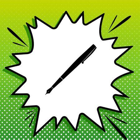 Pen sign illustration. Black Icon on white popart Splash at green background with white spots.