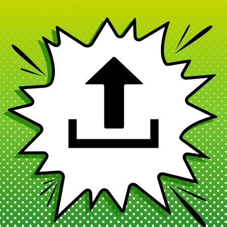 Upload sign illustration. Black Icon on white popart Splash at green background with white spots.