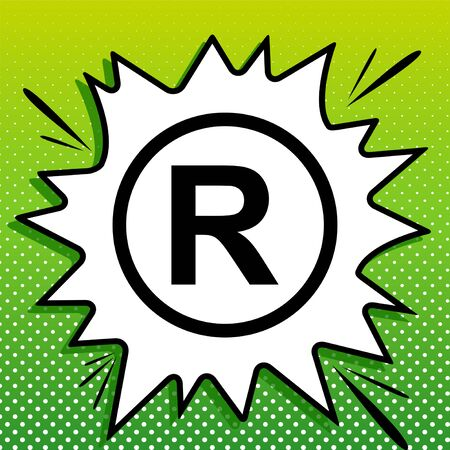 Registered Trademark sign. Black Icon on white popart Splash at green background with white spots.