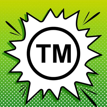 Trade mark sign. Black Icon on white popart Splash at green background with white spots. Stock Illustratie