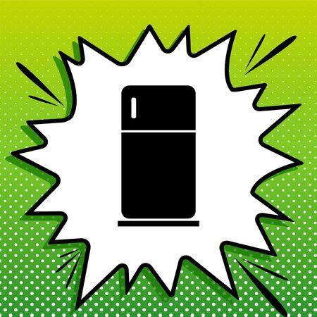 Refrigerator sign illustration. Black Icon on white popart Splash at green background with white spots. Vettoriali