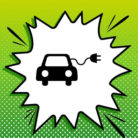 Eco electric car sign. Black Icon on white popart Splash at green background with white spots.