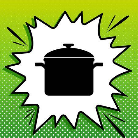 Cooking pan sign. Black Icon on white popart Splash at green background with white spots.