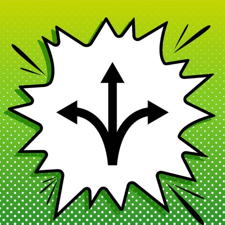 Three-way direction arrow sign. Black Icon on white popart Splash at green background with white spots.