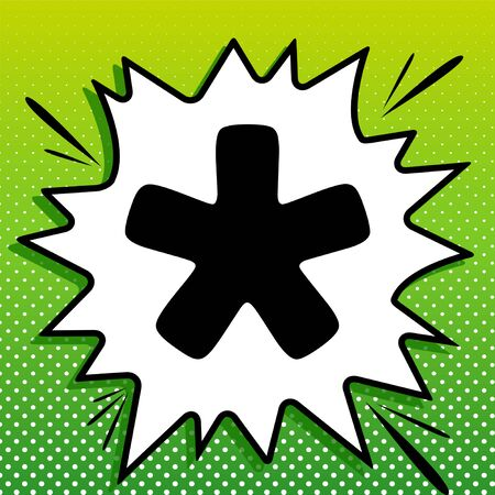 Asterisk star sign. Black Icon on white popart Splash at green background with white spots.