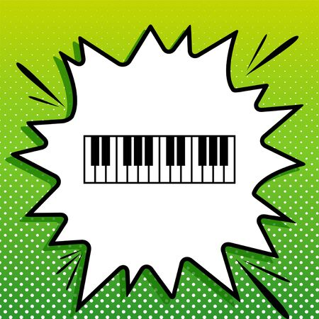 Piano Keyboard sign. Black Icon on white popart Splash at green background with white spots.