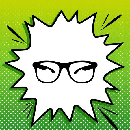 Sunglasses sign illustration. Black Icon on white popart Splash at green background with white spots. 向量圖像