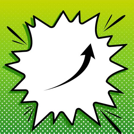 Growing arrow sign. Black Icon on white popart Splash at green background with white spots.