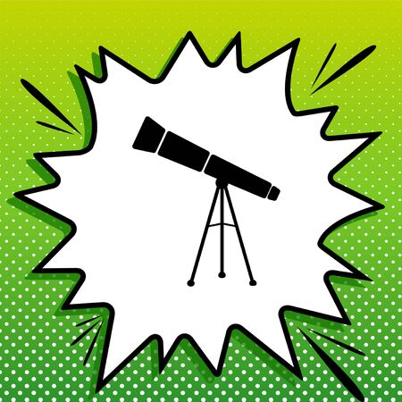 Telescope simple sign. Black Icon on white popart Splash at green background with white spots.