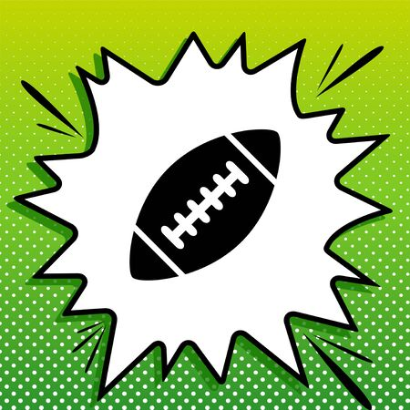 American simple football ball. Black Icon on white popart Splash at green background with white spots. Illustration