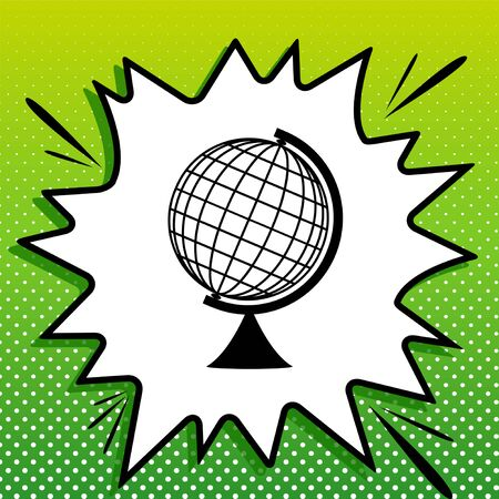 Earth Globe sign. Black Icon on white popart Splash at green background with white spots.