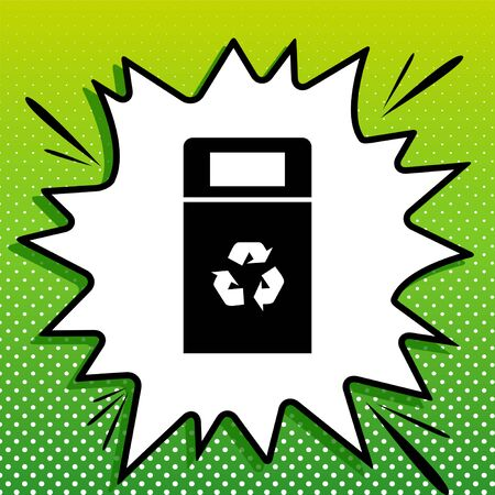 Trashcan sign illustration. Black Icon on white popart Splash at green background with white spots.