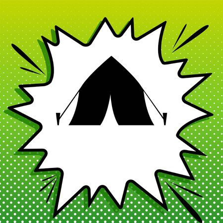 Tourist tent sign. Black Icon on white popart Splash at green background with white spots. Illustration