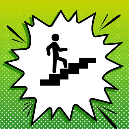 Man on Stairs going up. Black Icon on white popart Splash at green background with white spots.