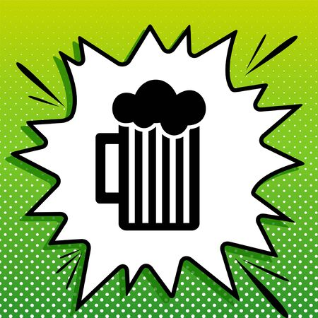 Glass of beer sign. Black Icon on white popart Splash at green background with white spots.