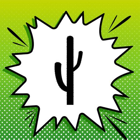 Cactus simple sign. Black Icon on white popart Splash at green background with white spots.