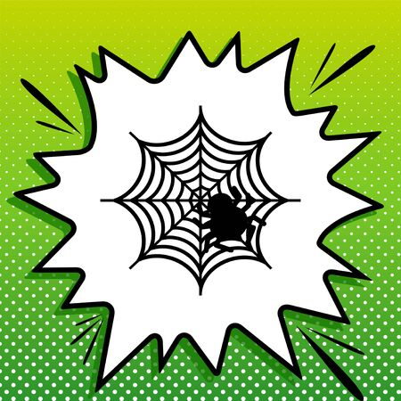 Spider on web illustration. Black Icon on white popart Splash at green background with white spots.
