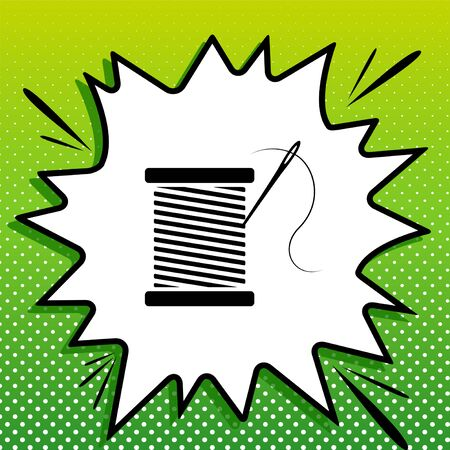 Thread with needle sign illustration. Black Icon on white popart Splash at green background with white spots.