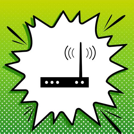 Wifi modem sign. Black Icon on white popart Splash at green background with white spots.
