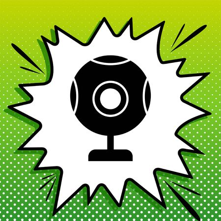 Chat web camera sign. Black Icon on white popart Splash at green background with white spots.