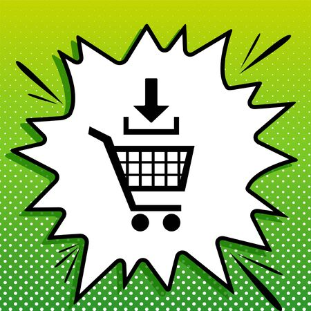 Add to Shopping cart sign. Black Icon on white popart Splash at green background with white spots. 向量圖像