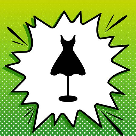 Mannequin with dress sign. Black Icon on white popart Splash at green background with white spots.
