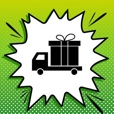 Delivery gift sign. Black Icon on white popart Splash at green background with white spots. Stock Illustratie