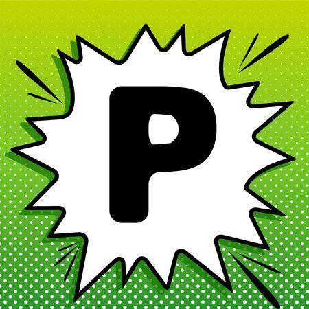 Letter P sign design template element. Black Icon on white popart Splash at green background with white spots. Ilustração
