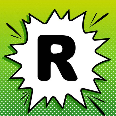 Letter R sign design template element. Black Icon on white popart Splash at green background with white spots.