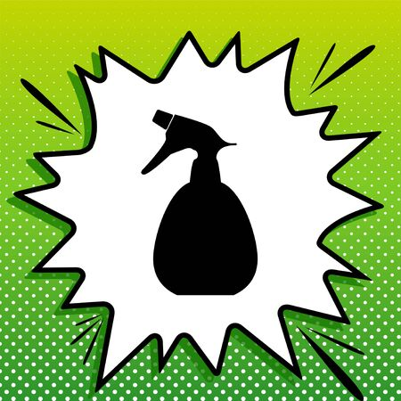 Spray bottle for cleaning sign. Black Icon on white popart Splash at green background with white spots.