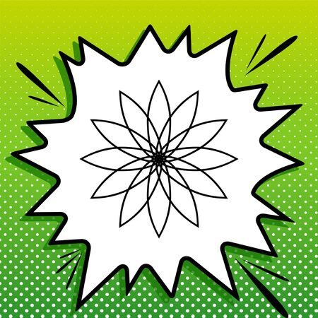 Flower sign. Black Icon on white popart Splash at green background with white spots.