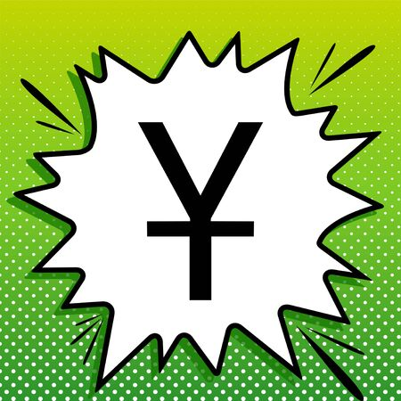 Chinese Yuan sign. Black Icon on white popart Splash at green background with white spots.