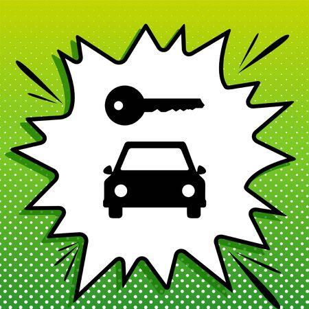 Car key simplistic sign. Black Icon on white popart Splash at green background with white spots. Illusztráció